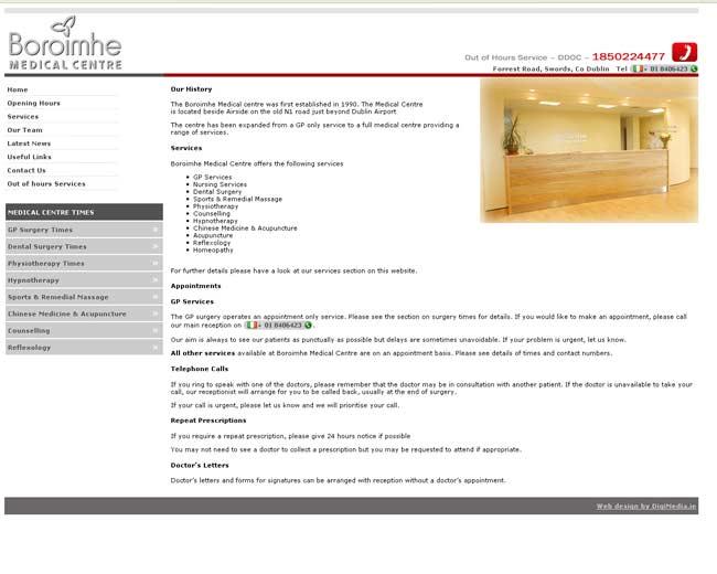boroimhe medical centre web design work