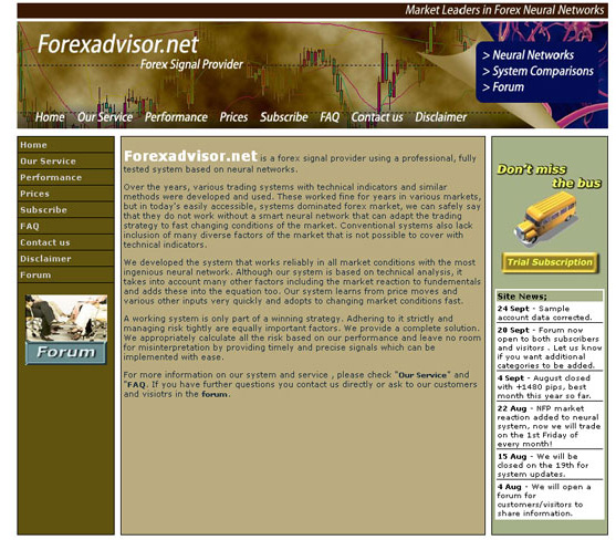 Forex advisor web design work