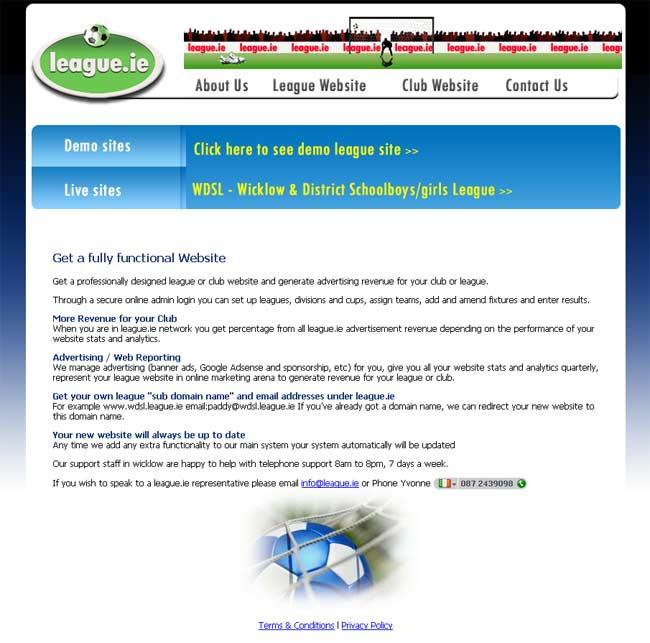 League.ie web design work