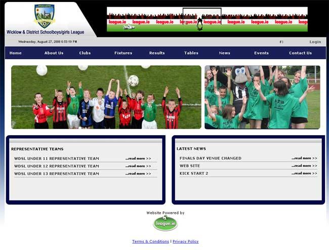 Wicklow School League web design work